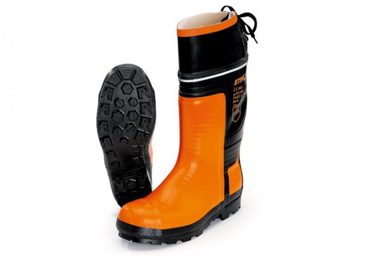 Gumené čižmy SPECIAL, pre prácu s motorovou pílou, farba čierno - oranžová 43
