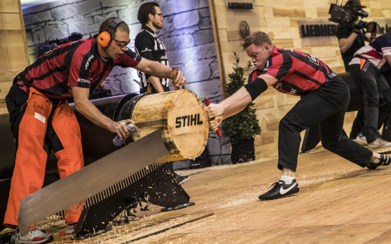 Team Canada performs during the Team qualification of the Stihl Timbersports World Championships at the Porsche-Arena in Stuttgart, Germany on November 11, 2016.