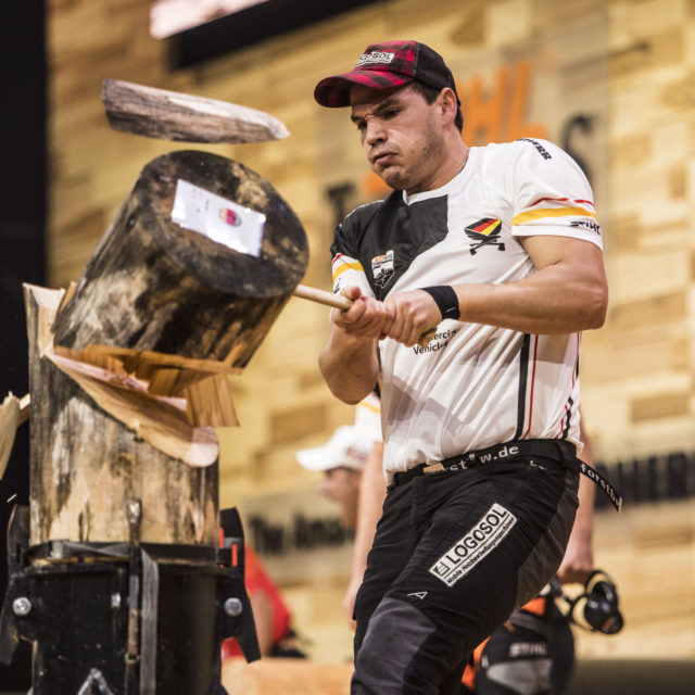 Team Germany performs during the Team Competition of the Stihl Timbersports World Championships at the Porsche-Arena in Stuttgart, Germany on November 11, 2016.