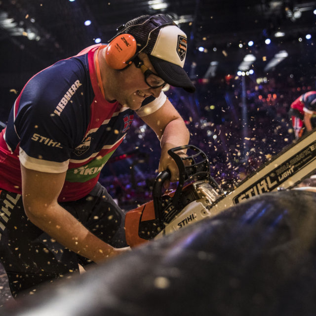 Team Norway performs during the Team Competition of the Stihl Timbersports World Championships at the Porsche-Arena in Stuttgart, Germany on November 11, 2016.